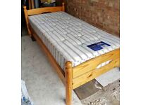 Single solid pine bed with good mattress