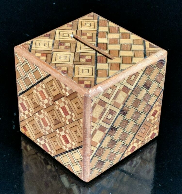 Hakone Yosegi Japanese Small Handcrafted Inlaid Wood Paneled Secret Puzzle Box
