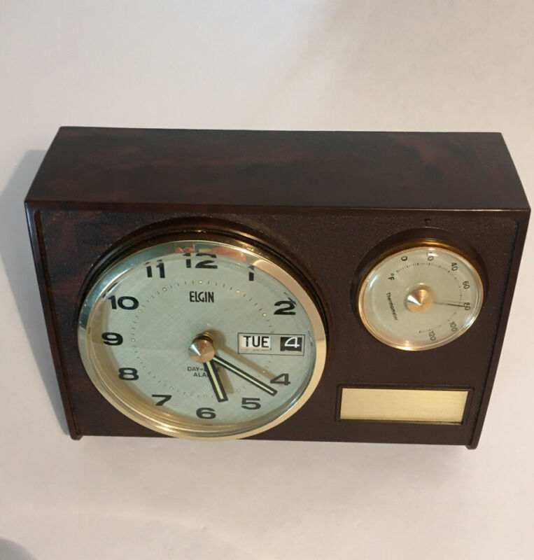Rare Vintage Elgin Alarm Clock With Thermometer