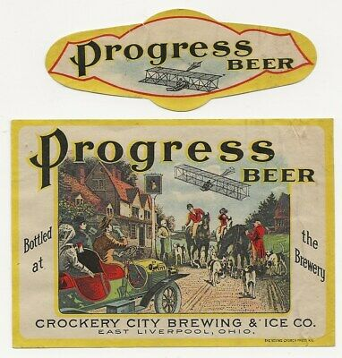 Pre Prohibition Crockery City Progress Beer label East Liverpool OH