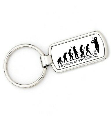 18th Birthday - CRICKET - Mans Evolution Key Ring® CRICKETER age keyring - 18th Birthday Rings