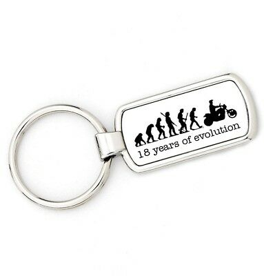 18th Birthday - MOTORBIKE Mans Evolution Key Ring® APE BIKER age keyring - 18th Birthday Rings