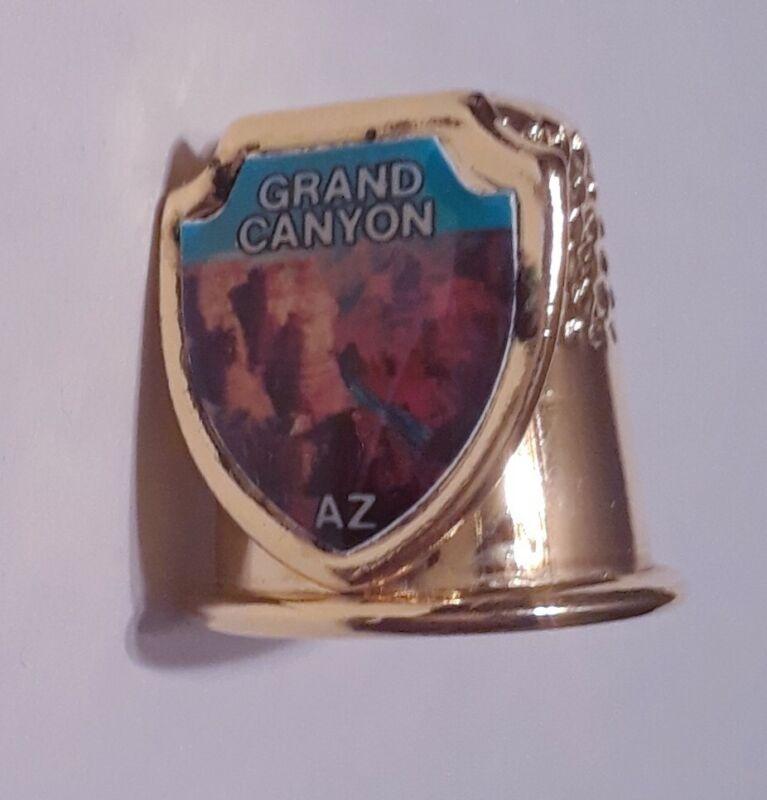 Vintage Grand Canyon Thimble National Park Arizona Gold Tone Collectible Sewing