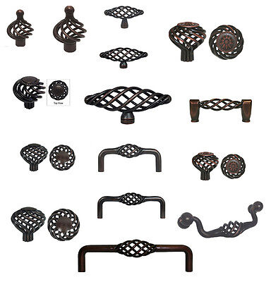 Cabinet Pull Drawer Handle Birdcage Knob Kitchen Hardware Oil Rubbed (Birdcage Cabinet Pull)
