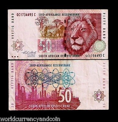 South Africa 50 Rand P125b 1992 Lion Oil Refinery Used Animal Money Sasol Note