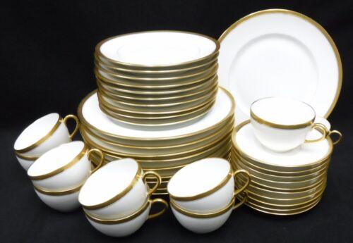 BERNARDAUD Limoges France GOLD ENCRUSTED GREEK KEY BER67 40-piece SERVICE for 10