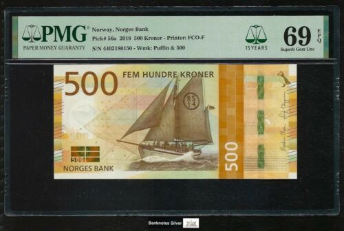 Norway 2018 - 500 Kroner P#56a PMG Superb Gem UNC 69 EPQ - TOP POP