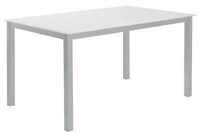 Mesa cocina grande o salon comedor cristal templado blanco y patas acero...
