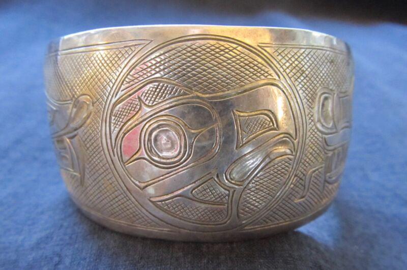 Vintage Large Sterling Northwest Coast Original Eagle Bracelet Signed Roy Winter