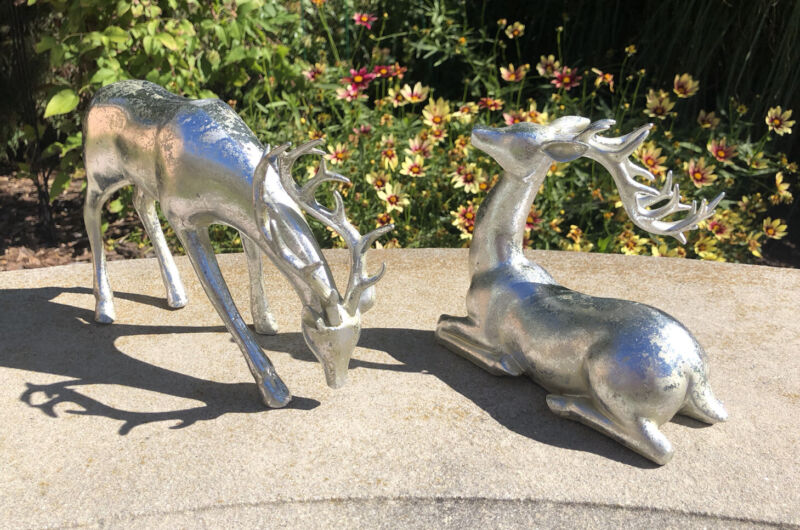 Beautiful Set of Silver Reindeer for Holiday - Christmas Decor (New)