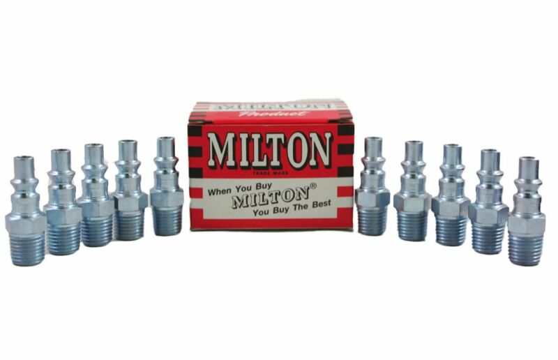 "10 Pieces Milton 777 A Style Air Hose Fittings 1/4"" Male NPT Coupler Plugs 777BK"