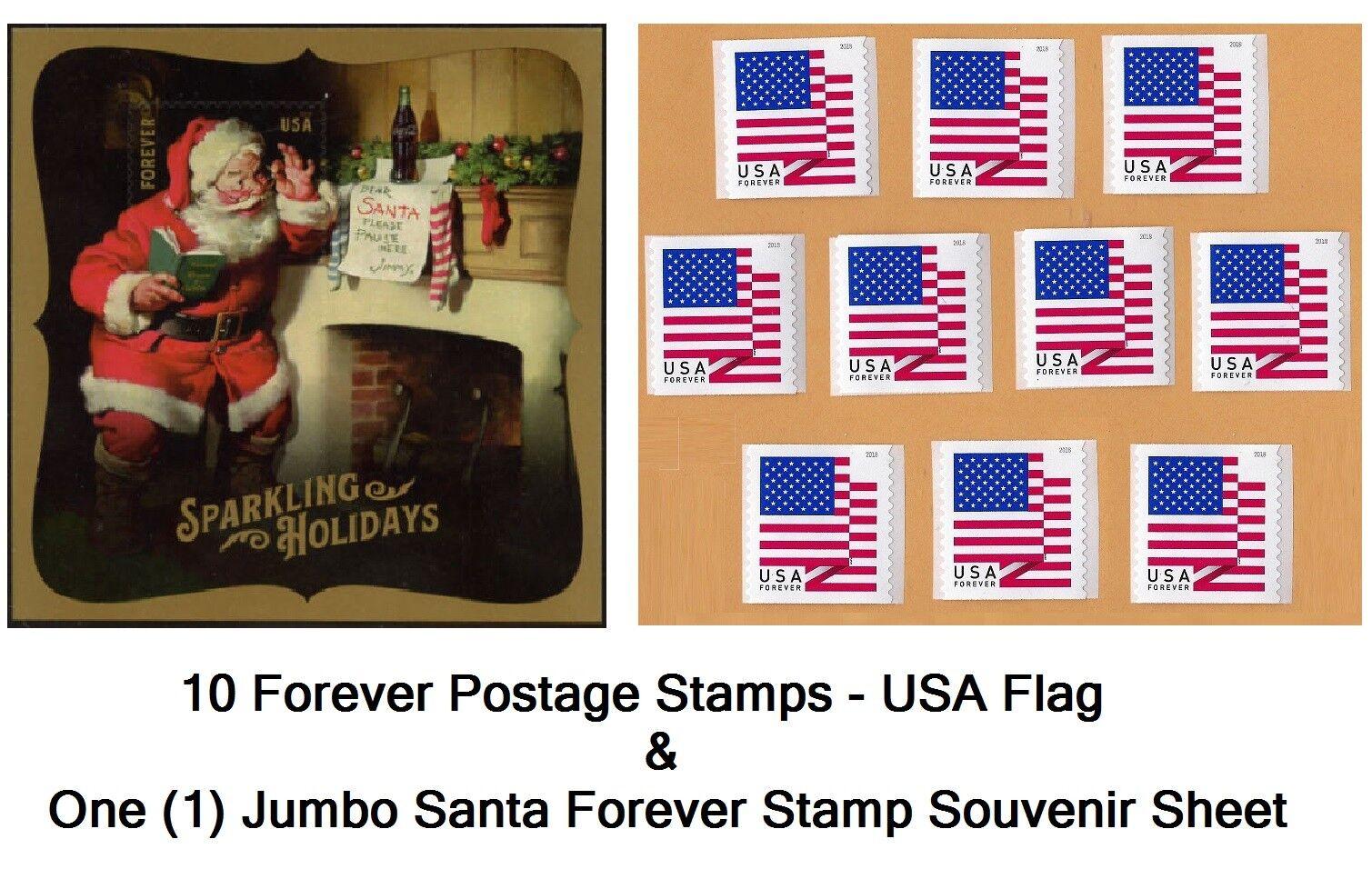 10 USA Forever Flag Stamps Self-Stick Postage and Santa Souvenir Sheet. TRACKING