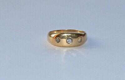 Vintage gents18ct gold diamond signet ring 3 diamonds hallmarked