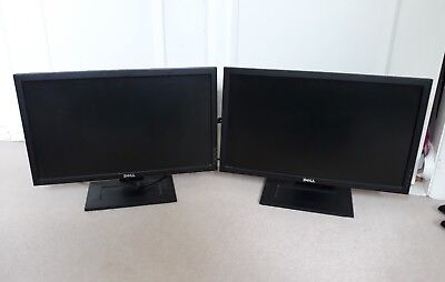 Pair of Dell 2210 22 Inch Flat Screen Computer Monitors