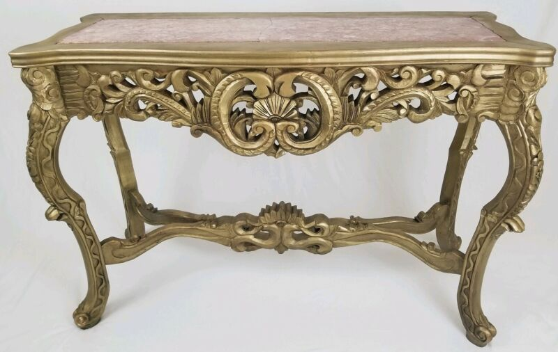"""Vintage Louis XVI French Carved Wood Console Hall Table With Marble Top 48"""" Long"""