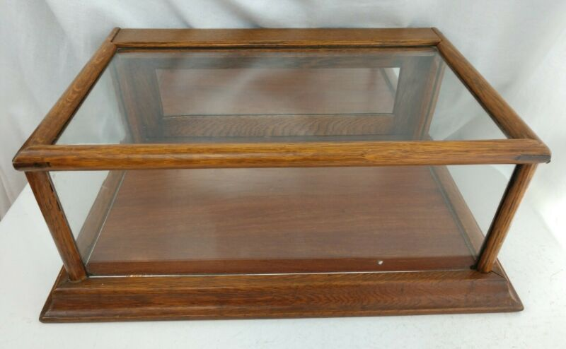 Antique 19th c Oak Glass County Store Counter Top Collection Display Case Small