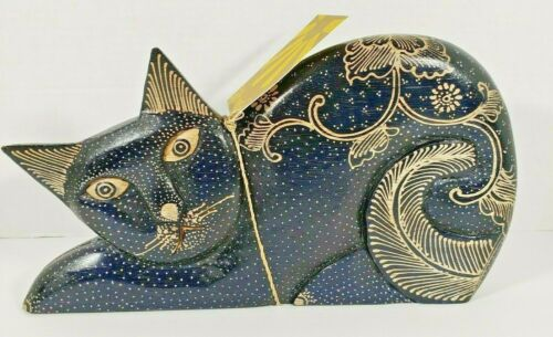 New Folk Art Hand Crafted Wood Stretching Cat Made in Indonesia Home Decor