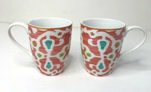 Pair 222 Fifth Samarkand Orange Fine China Coffee Tea Mugs Cups Moroccan Ikat