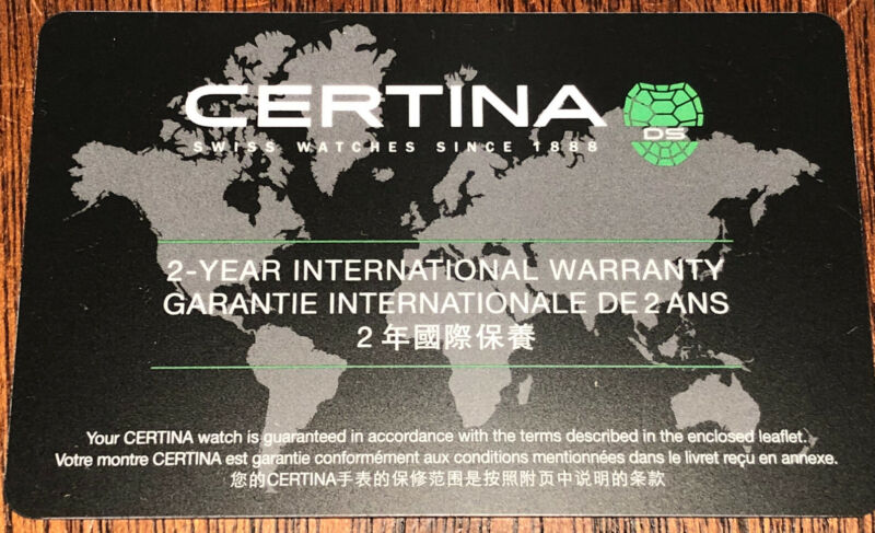 New! CERTINA Blank Unfilled Warranty/Guarantee Acrylic Card Authentic