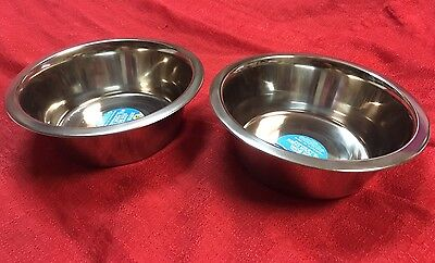 Lot Of 2 Kennel Club Large Stainless-Steel Dog Bowl, 52.41 oz. Fast Ship