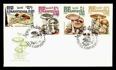 DR WHO 1985 KAMPUCHEA CAMBODIA FDC MUSHROOM CACHET COMBO  g18429