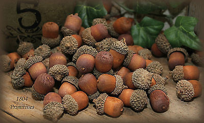 70 Wooden ACORNS with Real Caps ~ Assorted sizes ~ Fall Bowl Fillers