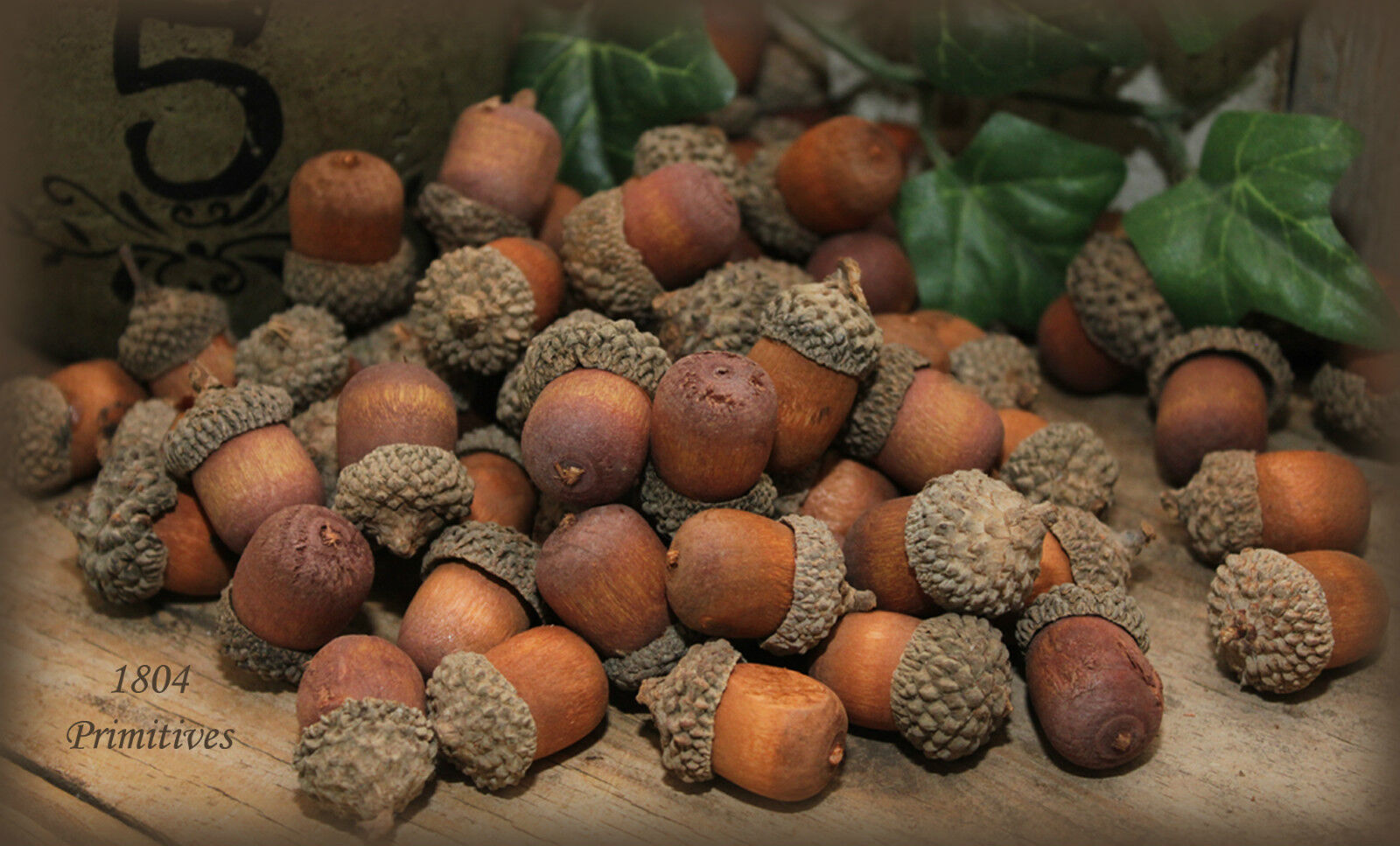 70 Wooden Acorns With Real Caps Assorted Sizes Fall Bowl Fillers