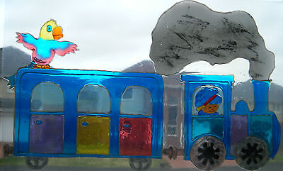 STEAM TRAIN WINDOW PAINT PICTURE DECORATION CLING