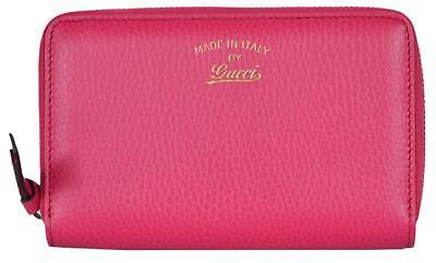 NEW Gucci Women's 354497 Pink Leather Trademark Logo Swing Zip Around Wallet
