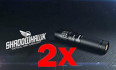 2PCS 8000LM Genuine X800 SHADOWHAWK CREE L2 LED Tactical Military Flashlight