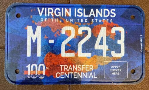 Virgin Islands 2016 MOTORCYCLE CENTENNIAL License Plate NICE QUALITY # M-2243