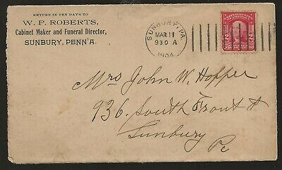 1904 Sunbury Pa Cabinet Maker Cover to Sunbury Pa. for sale  Shipping to Nigeria