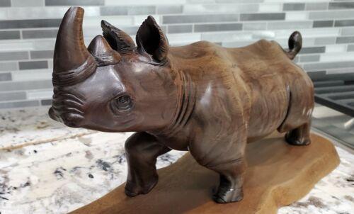 Wood Rhino Figurine
