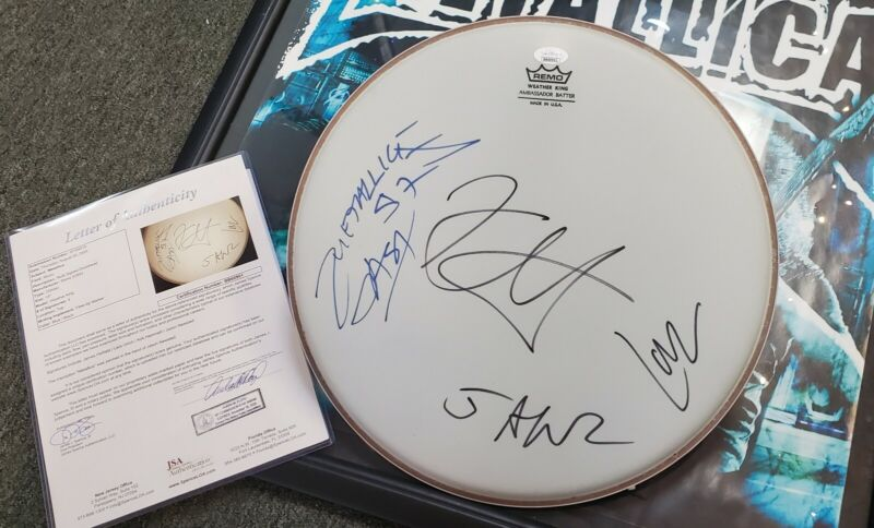 """Metallica 14"""" REMO Drumhead Signed by All 4 Members - JSA CERTIFIED"""