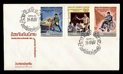 DR WHO 1981 LAOS FDC INTERNATIONAL YEAR DISABLED PERSONS COMBO  g06379