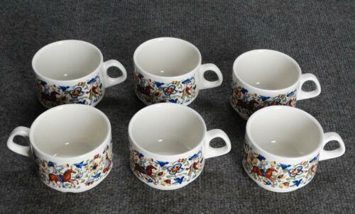 "6 PC VILLEROY & BOCH TROUBADOUR COFFEE CUPS, 3-3/8"", MINT"