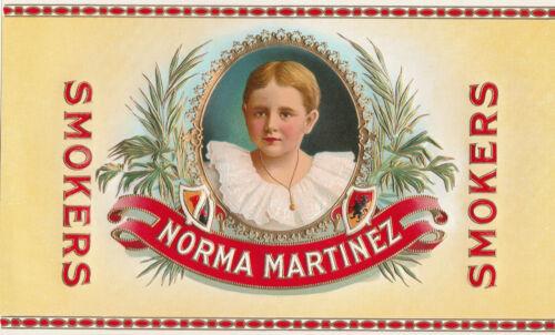 Original Unused Vintage Cigar Box Label Norma Martinez Smokers