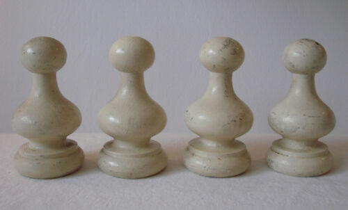 "Set of Four  Large  6"" Vintage Painted Wood Finials"