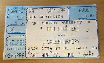 1996 FOO FIGHTERS SALEM OR CONCERT TICKET STUB DAVE GROHL NIRVANA SONIC HIGHWAYS