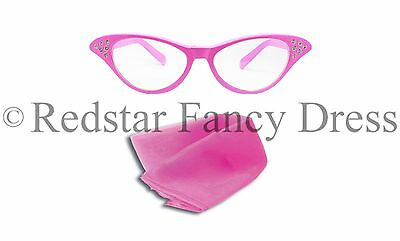LADIES PINK GLASSES AND PINK SCARF FANCY DRESS SANDY 50'S 1950S - 1950 Fancy Dress Kostüm