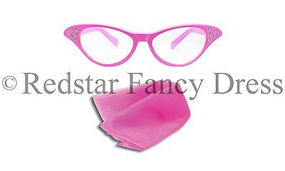 LADIES PINK GLASSES AND PINK SCARF FANCY DRESS SANDY 50'S 1950S - Sandy Fancy Dress Kostüm