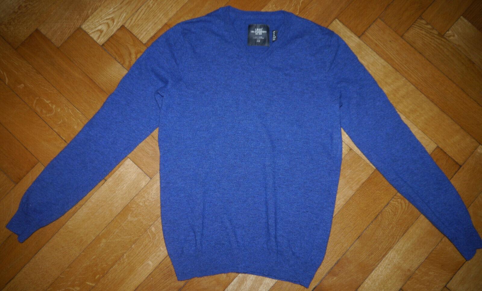 H&M L.O.G.G. Herren Pullover V-Ausschnitt Blau Gr. M