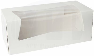 Donut Bakery Box 9 X 4 X 3.5 White Auto-popup With A Window - 10 Pieces