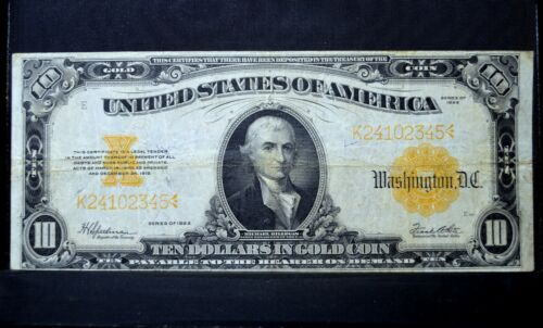 1922 $10 GOLD CERTIFICATE ✪ CH-VF ✪ CHOICE VERY FINE L@@K NOW 345 ◢TRUSTED◣