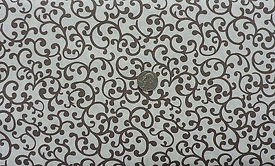 Brown Scrolls (100% Cotton Fabric - Brown Scrolls on Beige - by the)