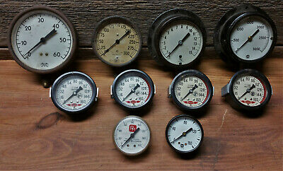 Vintage Pressure Gauges Steampunk Industrial Motometer Usg Marshalltown Ashcroft