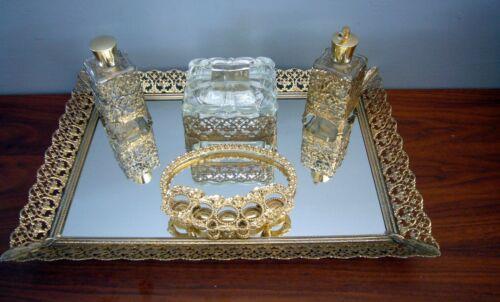 6 pc Vintage Gold Vanity Set Perfume Lidded Powder Lipstick Holder Mirror Tray