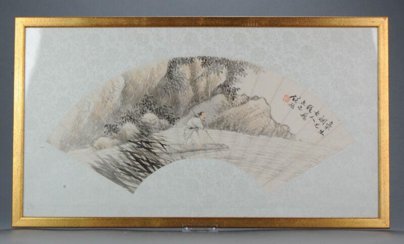 Antique Chinese Fan Painting Ren Yu ( 1853-1901 ) China Qing 19th centur...