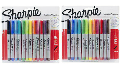 New 2 Sharpie 12-pk Ultra Fine Point Tip Permanent Markers Assorted Colors 24 Ct
