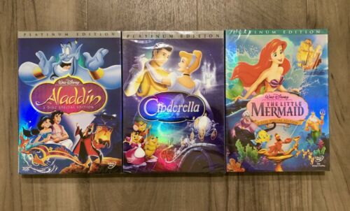 Aladdin, Cinderella, and Little Mermaid 3-DVD Bundle Brand New Ships Free